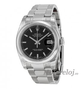 Replicas Rolex Datejust Negro Index Dial Oyster Bracelet 116200BKSO