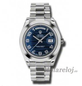Rolex Day-Date II Azul Wave Dial Platinum President 218206BLWAP