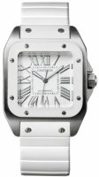 Cartier Santos 100 Medium Automatico Steel & Blanco Rubber W20129U2