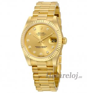 Replicas Rolex Lady-Datejust 31 Champagne Dial 18K Amarillo oro President Automatic 178278CDP