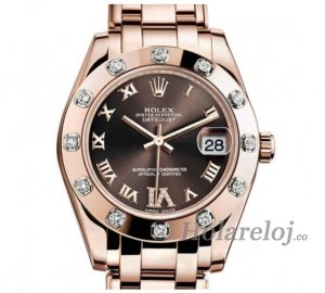 Replicas Rolex Datejust Chocolate Dial Diamante 18K Everose oro Senora 81315BRRDPM