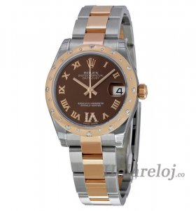 Replicas Rolex Datejust Lady 31 Chocolate Dial acero and 18K oro Rosa 178341BRRO