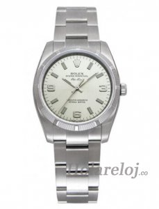 Rolex Airking Plata Arabic and Index Dial Engine Turned Bezel 114210SASO