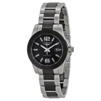 Longines Conquest Blanco Dial Negro Ceramic and acero inoxidable reloj L3.257.4.56.7