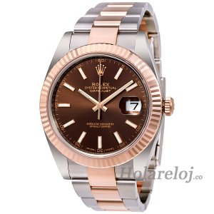 Rolex Datejust 41mm 126331 Acero de Dial de Chocolate y 18K Everose reloj de oro