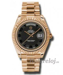 Rolex Day-Date II Negro Concentric Dial 18K EveOro rosa President 218235BKCAP