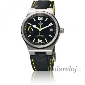 Tudor North Flag reloj 91210N yellow accented Cuero negro strap
