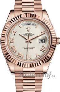 Rolex Day-Date II President Oro rosado Fluted Bezel Ivory