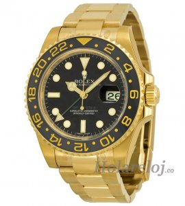 Rolex GMT Master II Negro Dial Oyster 18kt Oro amarillo 116718BKSO