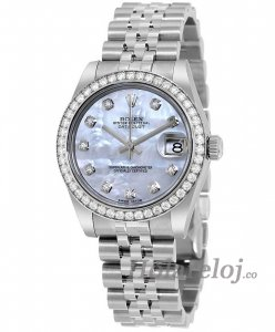 Replicas Rolex Datejust Mother of Pearl Diamante Dial 18kt Blanco oro Diamante Bezel Senora 178384MDJ