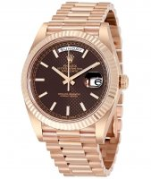 Replicas Rolex Day-Date 40 Chocolate Dial 18K Everose oro President 228235CHSP