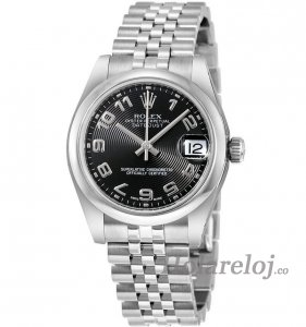 Replicas Rolex Datejust Lady 31 Negro Concentric Circle Dial 178240BKCAJ