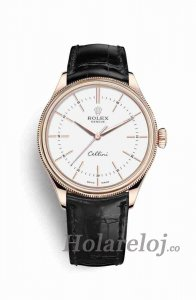 Rolex Cellini Time Everose oro 50505 Blanco Marcar Reloj