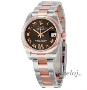 Replicas Rolex Datejust Lady 31 Chocolate with Diamantes Dial Acero inoxidable and oro Rosa 178241CHRDO