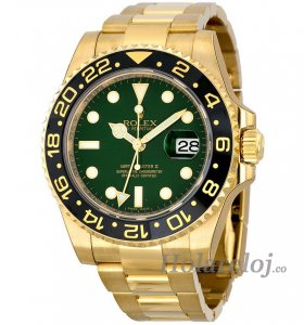 Rolex GMT Master II Verde Dial Oyster 18k Oro amarillo 116718GSO