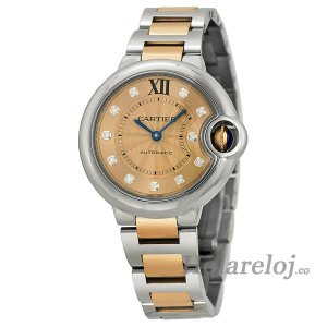 Cartier Ballon Bleu Acero inoxidable y 18kt Oro rosa mujer Replica reloj WE902053