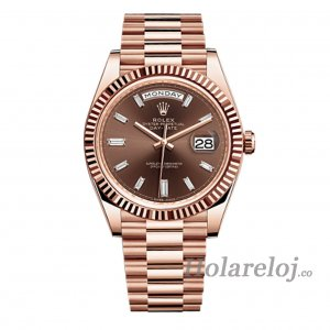 Rolex Day-Date 40 Chocolate Baguette Diamante Dial 18K EveOro rosa Automatico